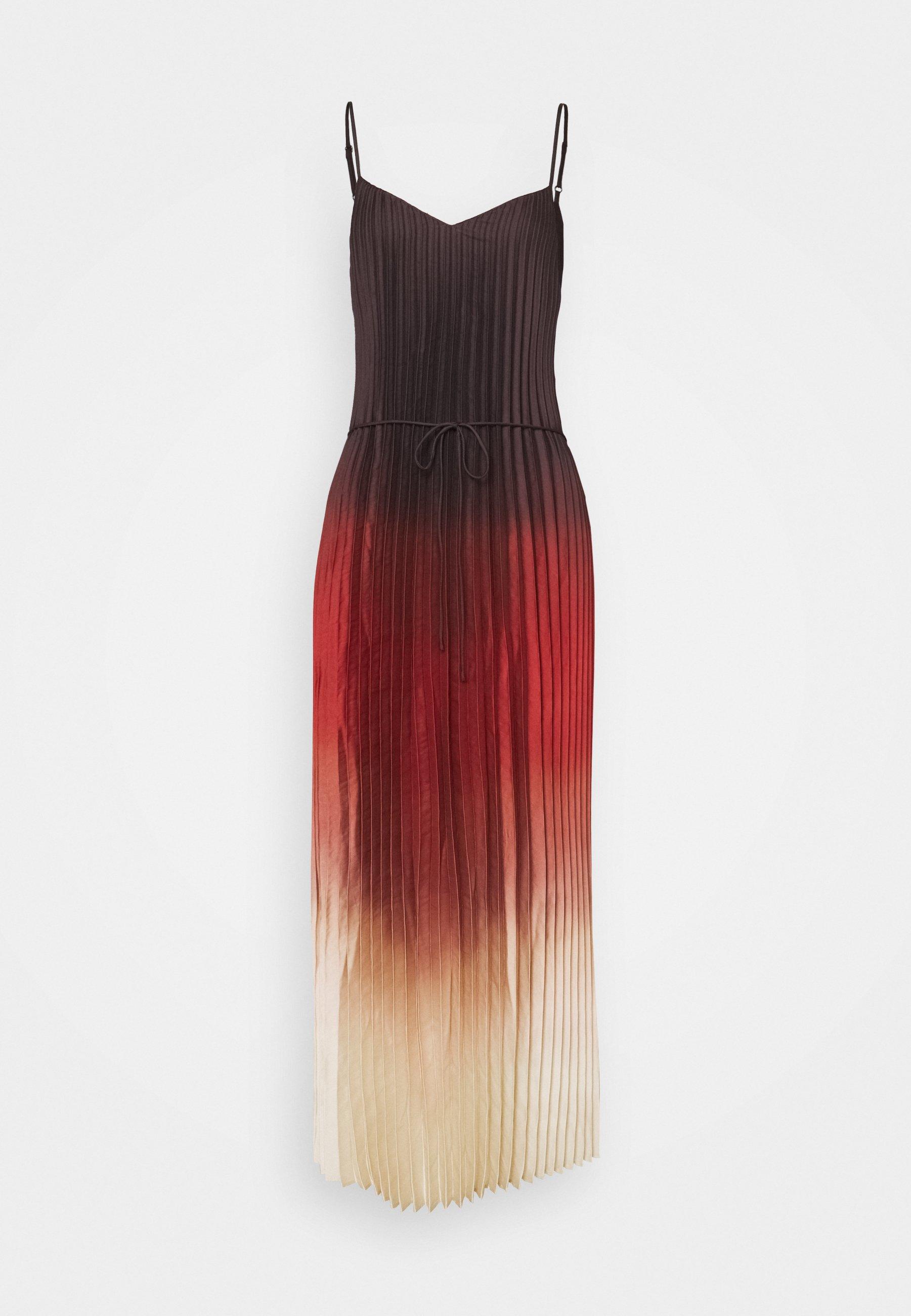 Women STRAPPY V NECK PLEATED MIDI - Maxi dress