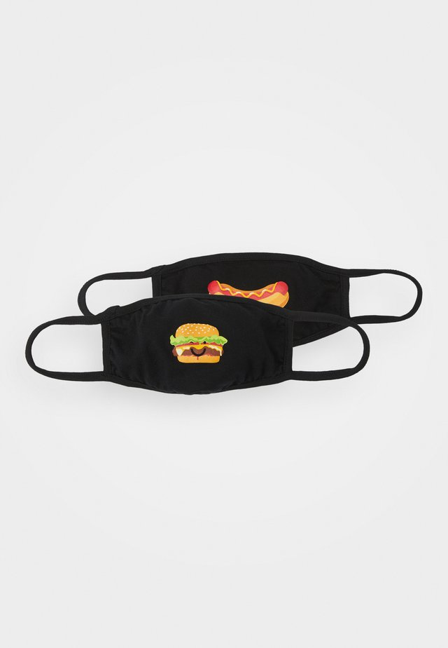 BURGER AND HOT DOG FACE MASK UNISEX 2 PACK - Látková maska - black