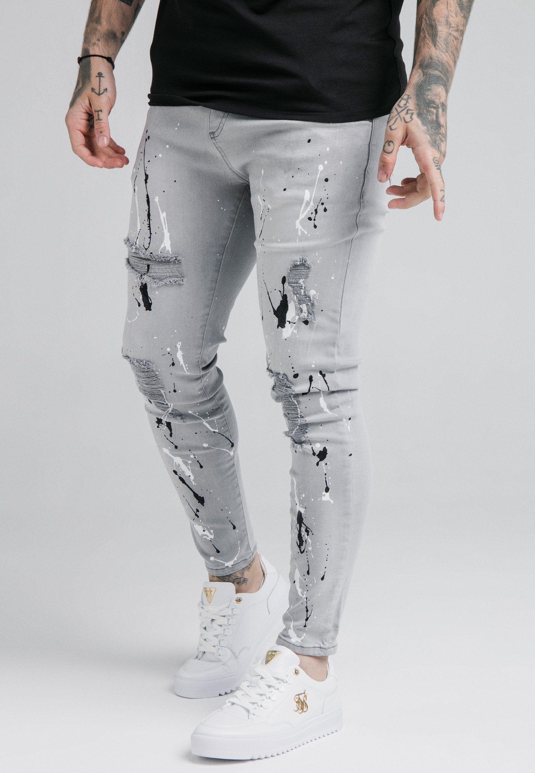 SIKSILK ELASTICATED RIOT  - Jeans Skinny Fit - grey