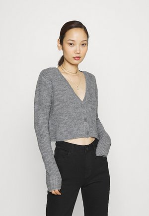 CROPPED RIBBED CARDIGAN - Gilet - mottled grey