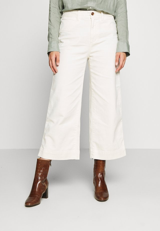 WIDE LEG SOLID - Trousers - ivory frost