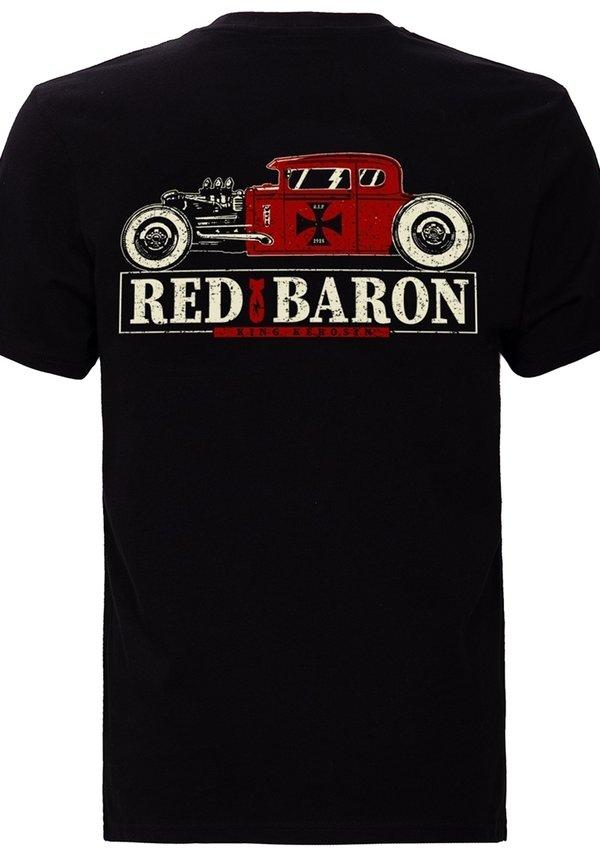 King Kerosin MIT BACK PRINT RED BARON - T-shirt z nadrukiem - schwarz/czarny Odzież Męska NTVL
