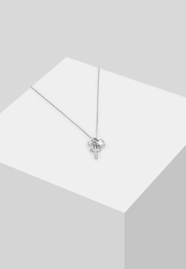 KREUZ HERZ  - Necklace - silber