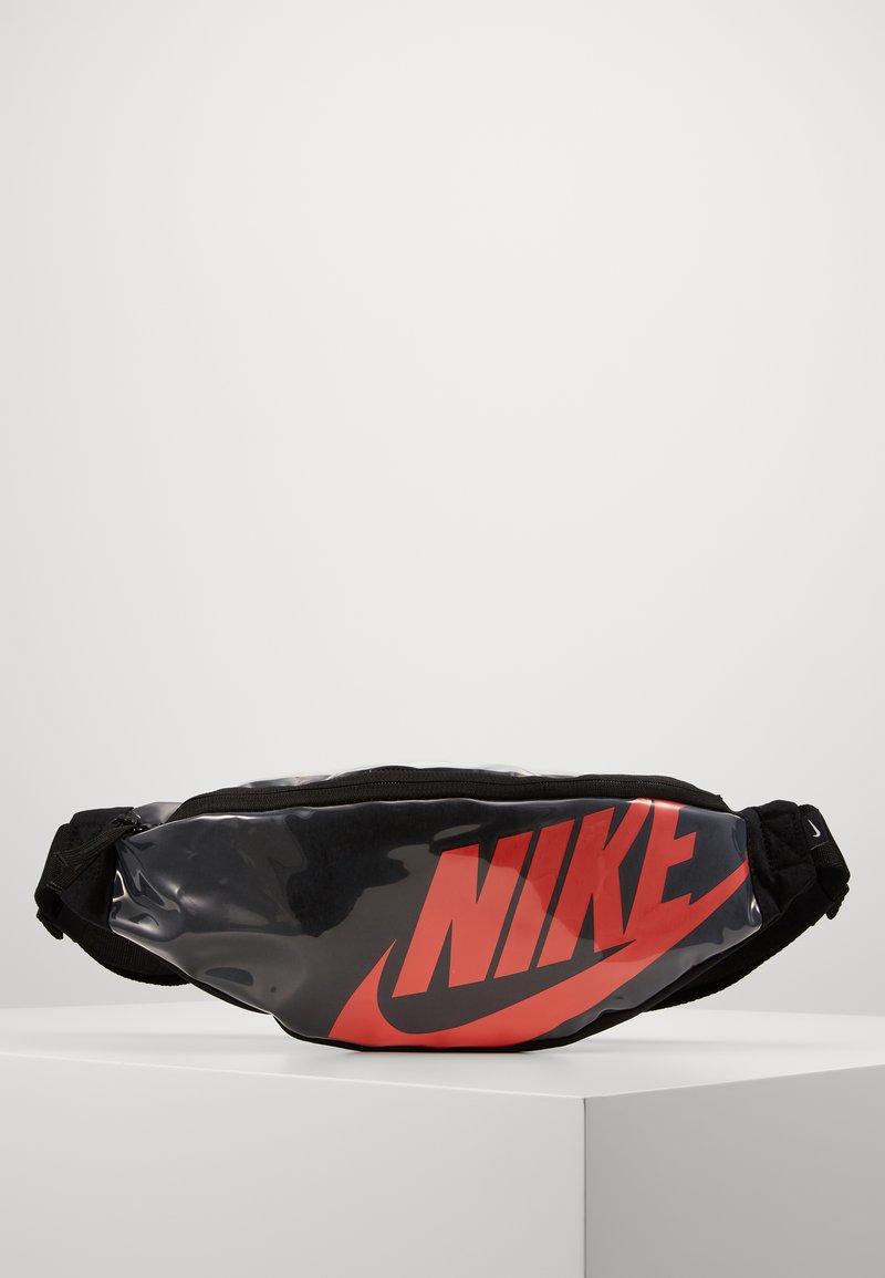 Nike Sportswear - HERITAGE - Bum bag - black/laser crimson