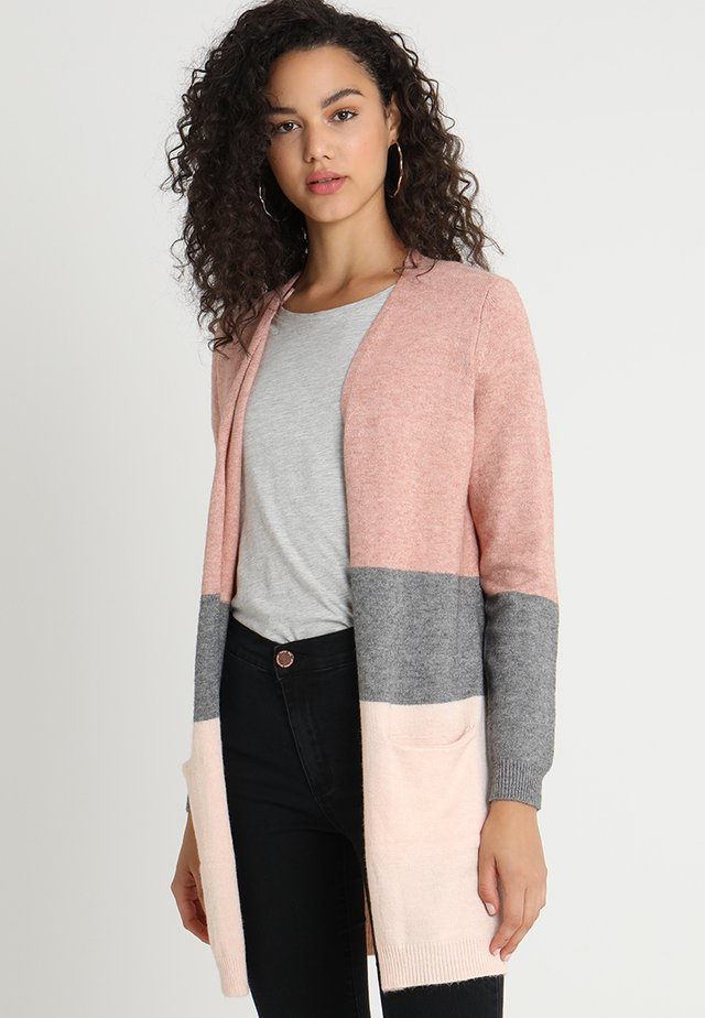 ONLQUEEN LONG CARDIGAN - Strickjacke - misty rose/mottled grey melange/cloud pink melange