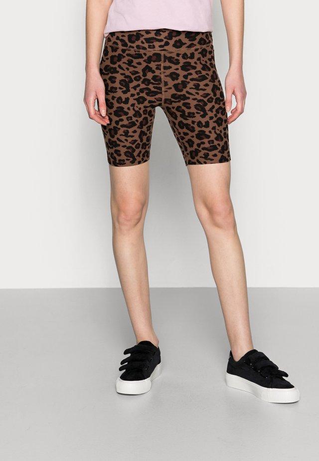 BIKE SHORT - Szorty - black/leopard