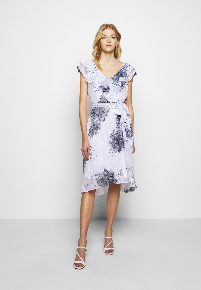 DKNY - MIDI WITH DOUBLE RUFFLE VNECK - Denní šaty - cream