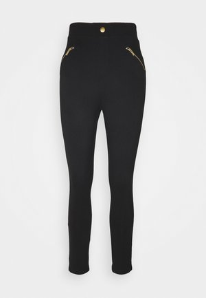 PUNTO LEGGING WITH ZIP DETAIL - Pantalones - black