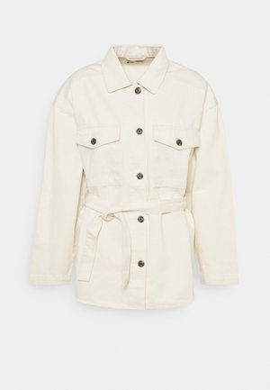 BELTED SHACKET - Denim jacket - raw cream