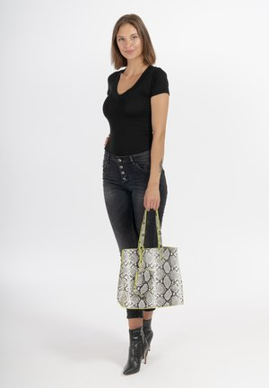 LINA - Tote bag - black/white 103