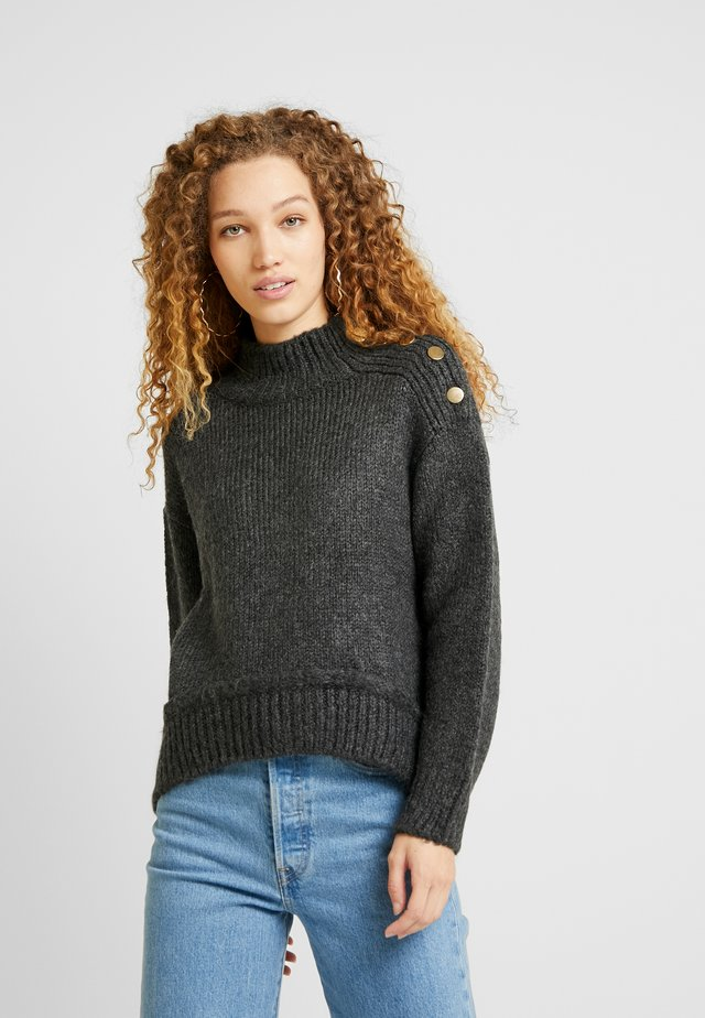 BUTTON - Pullover - charcoal
