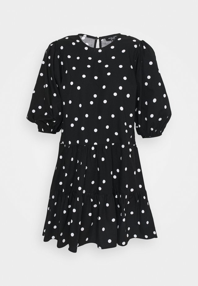 PRINT BLOUSON MINI - Day dress - black
