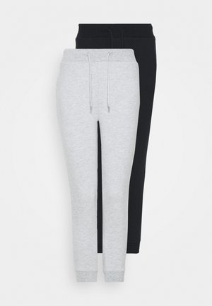 2 PACK SLIM FIT JOGGERS - Tracksuit bottoms - black/grey