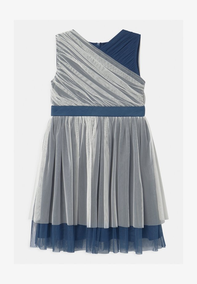 CONTRAST WITH WAISTBAND - Cocktail dress / Party dress - ivory/indigo