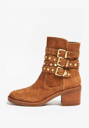 Cowboy/biker ankle boot - braun