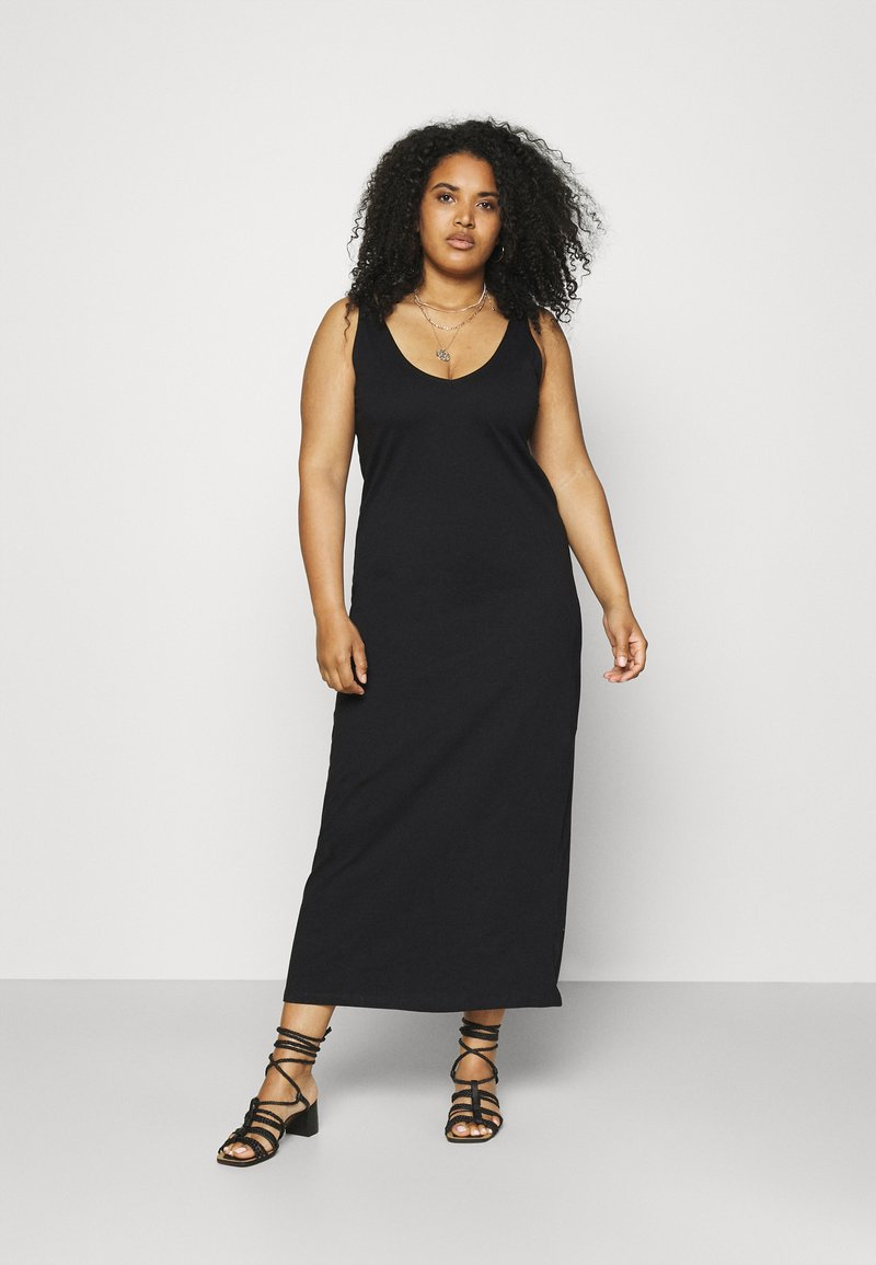 ONLY Carmakoma - CARAPRIL LIFE V-NECK DRESS - Jersey dress - black