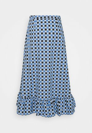 EMILIE MALOU CHECKED MIDI SKIRT - A-line skirt - blue