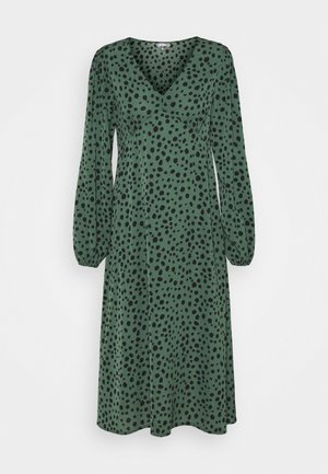 V NECK SMOCK DRESS DALMATIAN - Day dress - green