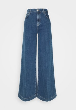 PANT FLARE BROAD - Flared jeans - denim blue fringed