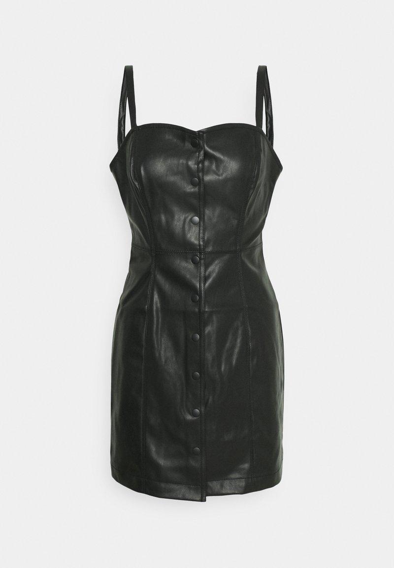 Miss Selfridge - CROC CAMI BUTTON THROUGH DRESS - Day dress - black