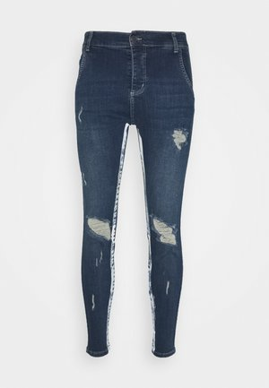 SKINNY FIT PAINT STRIPE WITH DISTRESSING - Vaqueros pitillo - midstone blue/white
