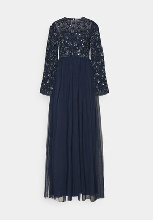 FLORAL EMBELLISHED BELL SLEEVE MAXI DRESS - Robe de cocktail - navy