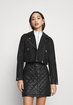 CROP BIKER - Faux leather jacket - black