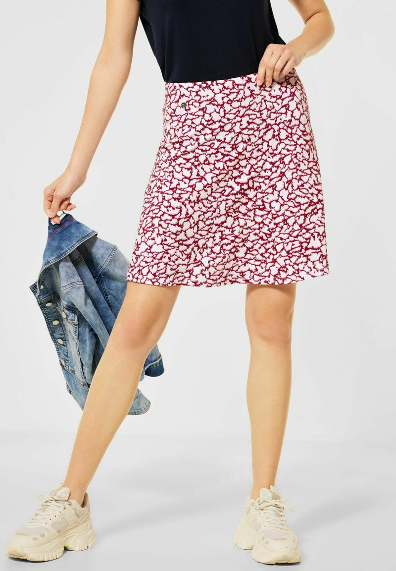 Street One - ROCK MIT PRINT - A-line skirt - rot