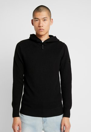 OMOHUNDRO HOODED 1\2 ZIP KNIT L\S - Jumper - dark black