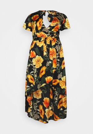 FLORAL OPEN BACK HIGH LOW WRAP DRESS - Vestido largo - black