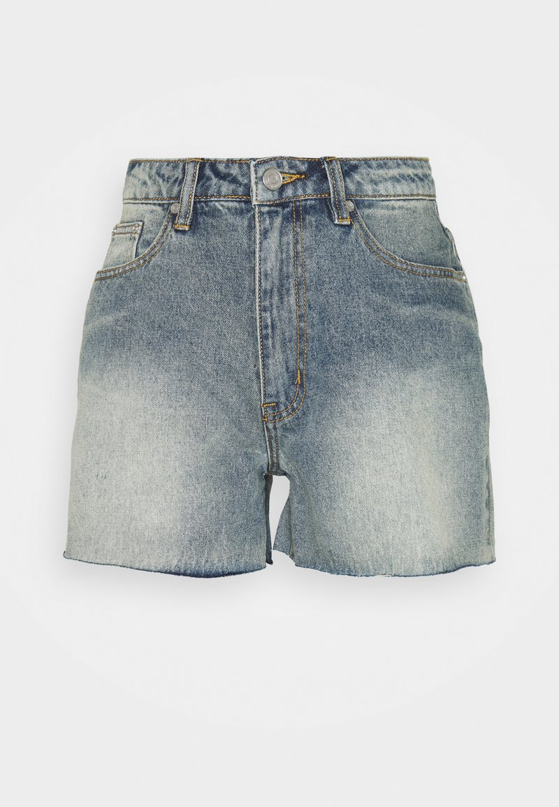 Missguided Tall - RIOT RAW HIGHWAISTED MOM  - Shorts di jeans - blue