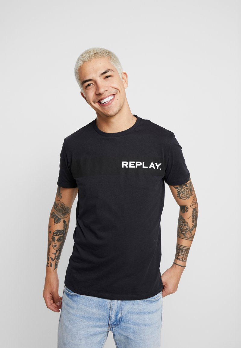 Replay - Print T-shirt - blue grey