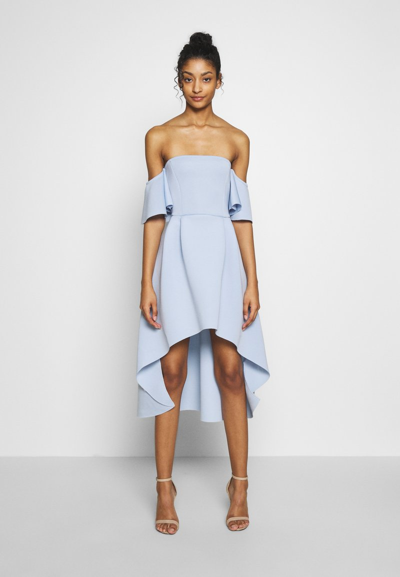 Missguided - BARDOT HIGH LOW MIDI DRESS - Sukienka koktajlowa - powder blue