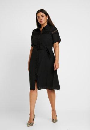 MIDI DRESS WITH INSERT AND BELT DETAIL - Košilové šaty - black
