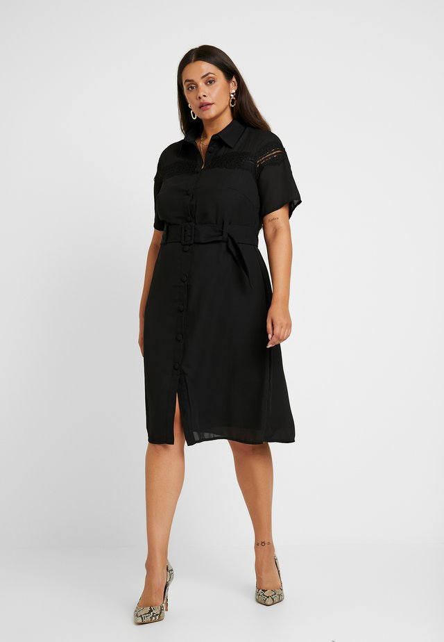 MIDI DRESS WITH INSERT AND BELT DETAIL - Shirt dress - black