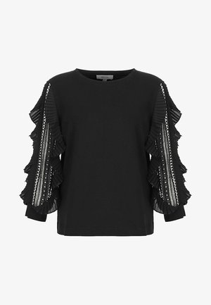 CASUAL RUFFLES AND GUIPURE ARM MIXL - Long sleeved top - black