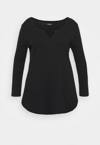 Simply Be - NOTCH FRONT - Long sleeved top - black - 0