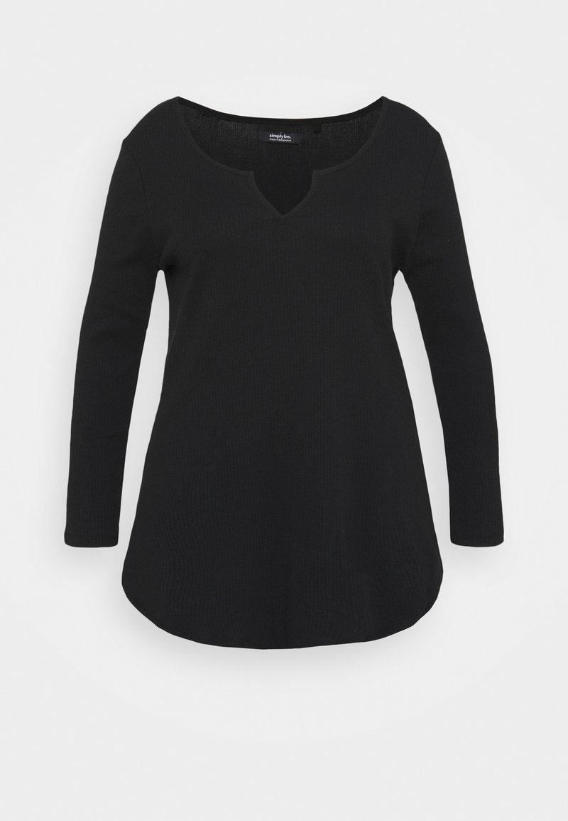Simply Be - NOTCH FRONT - Long sleeved top - black