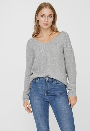 V-AUSSCHNITT - Jumper - light grey melange