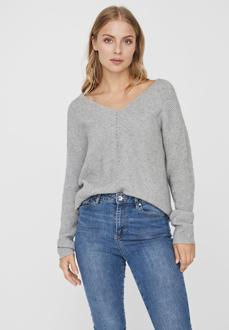 Vero Moda - V-AUSSCHNITT - Jumper - light grey melange