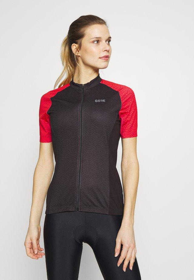 GORE® C3 DAMEN ONDASIA - T-shirt imprimé - black/hibiscus pink