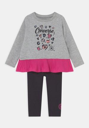 PLEATED PEPLUM LONG SLEEVE SET - Sweater - black