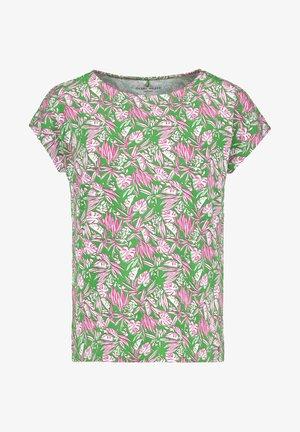 Print T-shirt - grün/lila/pink druck