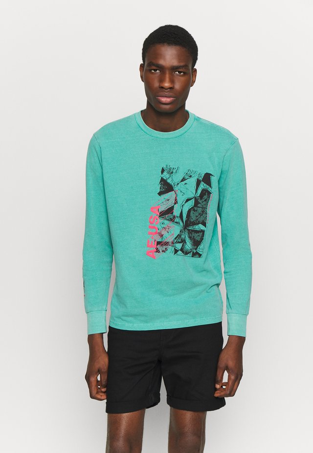 BOUND NECK TEE - Maglietta a manica lunga - teal