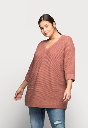 VMLEANNA V NECK LONG BLOUSE - Svetr - old rose