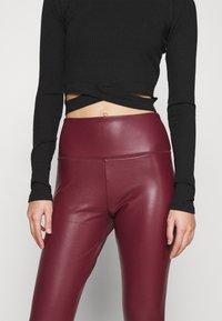 Hollister Co. - Leggings - Trousers - burgundy leather - 5
