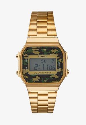 RETRO - Digital watch - gold/grün