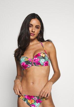 WIRE BANDEAU - Bikini top - oliv