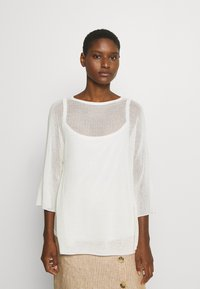 Marc O'Polo PURE - SLIT DETAIL AT SIDESEAM  - Sweter - natural white - 0
