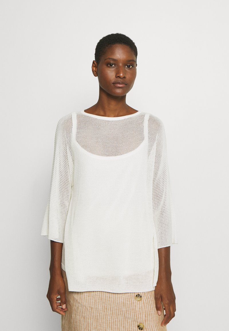 Marc O'Polo PURE - SLIT DETAIL AT SIDESEAM  - Sweter - natural white